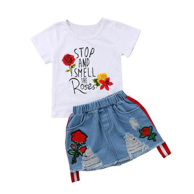 Printed White Tee + Denim Skirt - Roses / 2T
