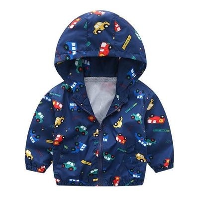 Kiddie Windbreaker - Cars & Buses Blue / 24M