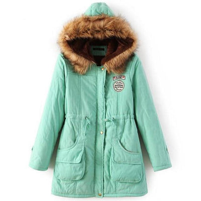 Plus Size Fur Winter Coat - Apple green / S