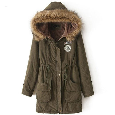 Plus Size Fur Winter Coat - ArmyGreen / S