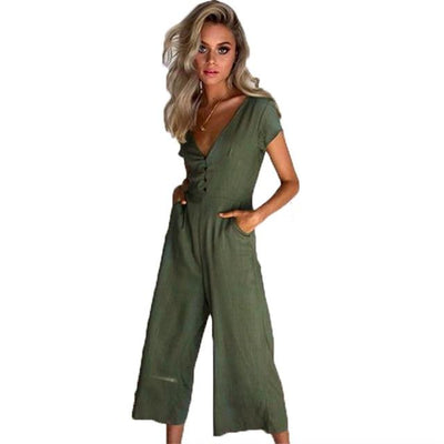 Wide Leg Jumpsuit - Army Green / S
