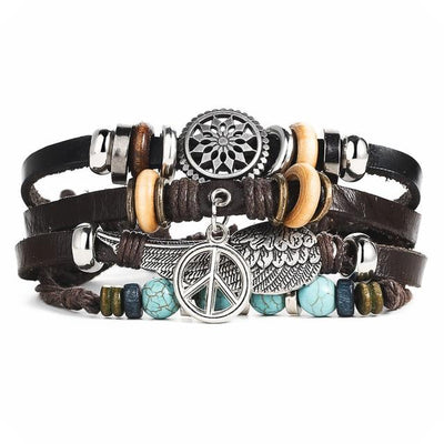 Multi-Layered Leather Punk Bracelet - Peace & Wing
