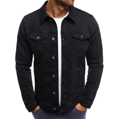 Vintage Style Denim Jacket - Black / M