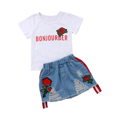 Printed White Tee + Denim Skirt - Bonjourber / 2T