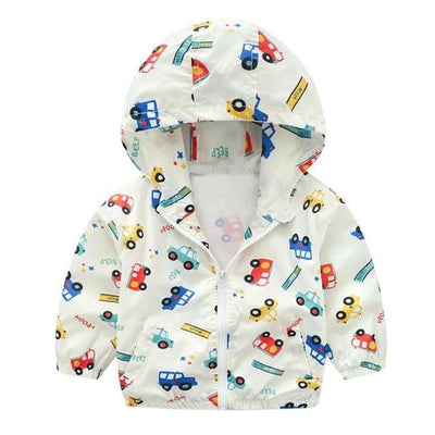 Kiddie Windbreaker - Cars & Buses White / 24M