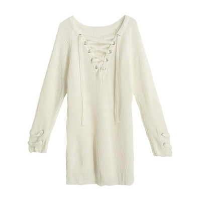 Lace-Up Oversized Sweater - Beige / M