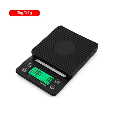 Electronic Digital Kitchen Scale With Timer - Black 3kg 0.1g