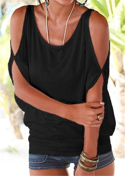 Casual Batwing Sleeve Blouse - Black / S
