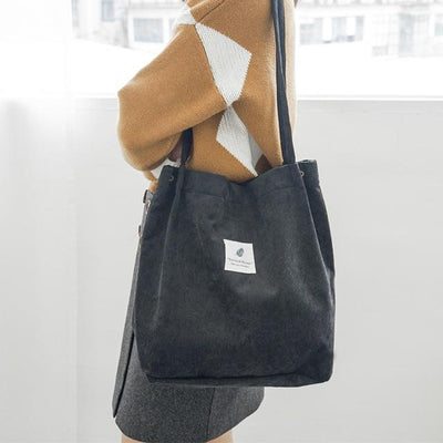 Reusable Corduroy Shopping Bag - Black