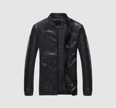 Faux Leather Casual Jacket - Black / S