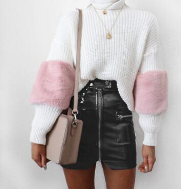 Faux Leather Mini Skirt - Black / S