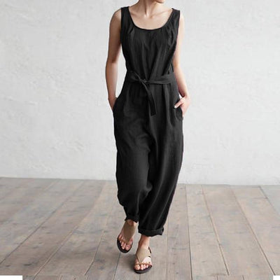 Casual Belted Jumpsuit - Black / S