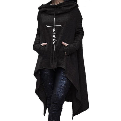 Faith Irregular Hoodie - Black / S