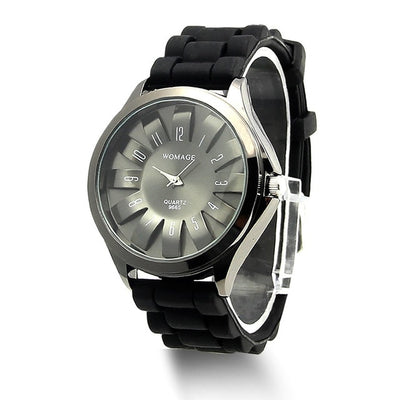 Jelly Band Flower Dial Wrist Watches - Black
