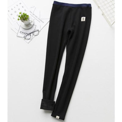 Cat Warm Fleece Leggings - Black