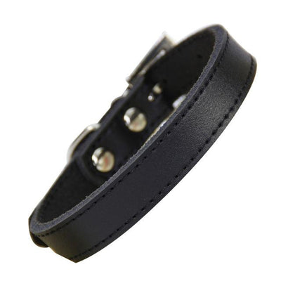 Classic Leather Dog Collar - Black / XS