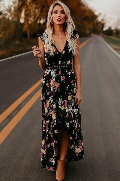 Backless Floral Maxi Dress - Black / S