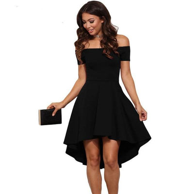 Scalloped Back Off The Shoulder Dress - Black / S