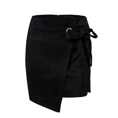 High-Waist Knotted Suede Skirt - Black / S