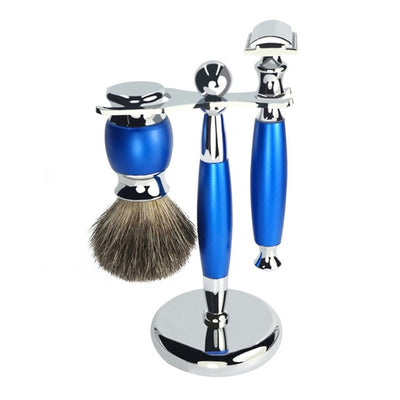 Vintage Shaving Set With Stand - Blue