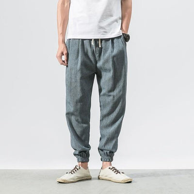 Casual Chino Harem Pants - Blue / M