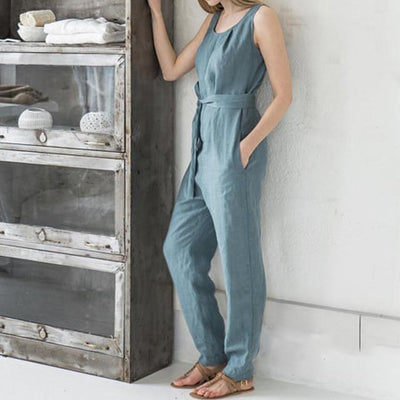 Casual Belted Jumpsuit - Blue / S