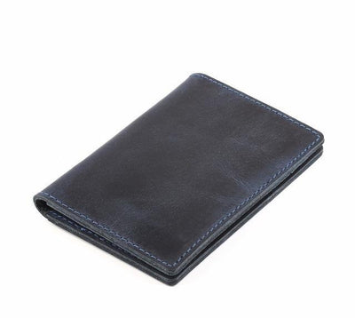 Men's Leather Card Wallet - Blue