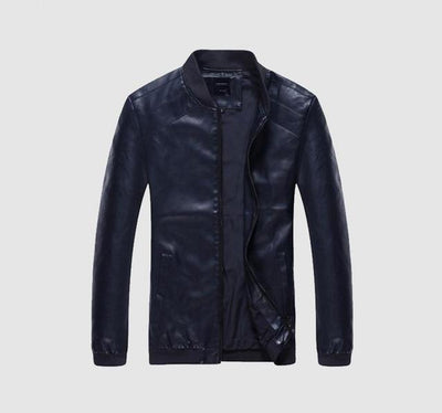 Faux Leather Casual Jacket - Blue / S