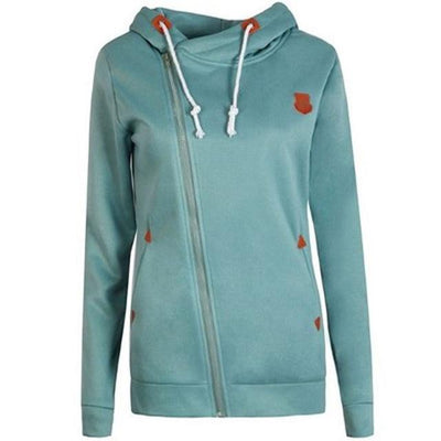 Women's Long Zip Up Sweatshirt Hoodie - Blue / S