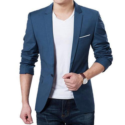 Men's Slim Suit Blazer - Blue / S