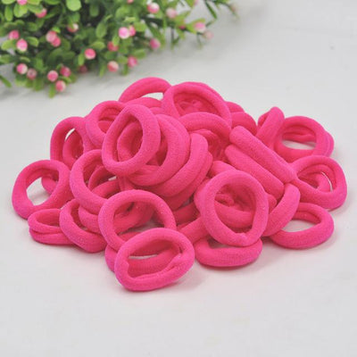 Spandex Ponytail 50pcs - Bright hot pink