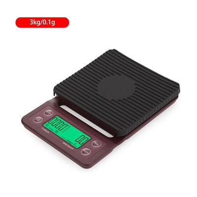 Electronic Digital Kitchen Scale With Timer - Brown 3kg 0.1g