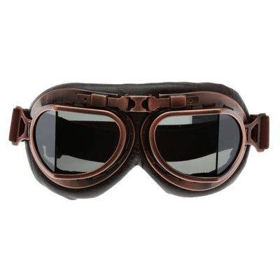 Retro Steampunk Copper Motorcycle Goggles - Brown Lens