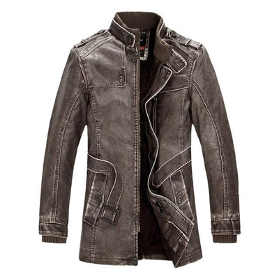 Classic Leather Motorcycle Jacket - Brown / M