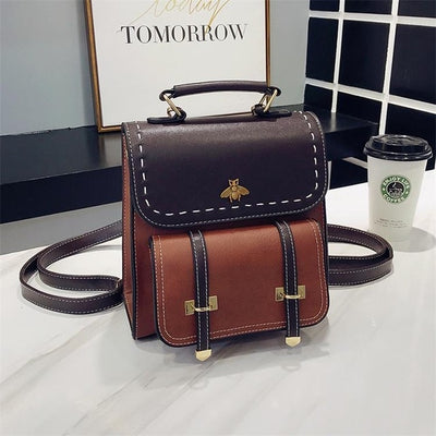 Thea Vintage Leather Backpack - Brown / 23cm20cm10cm
