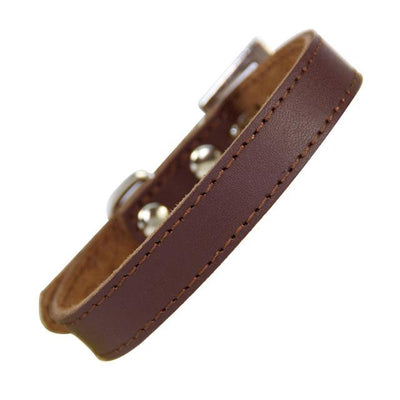 Classic Leather Dog Collar - Brown / XS