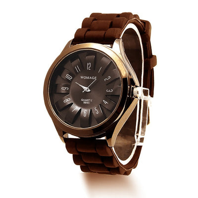 Jelly Band Flower Dial Wrist Watches - Brown