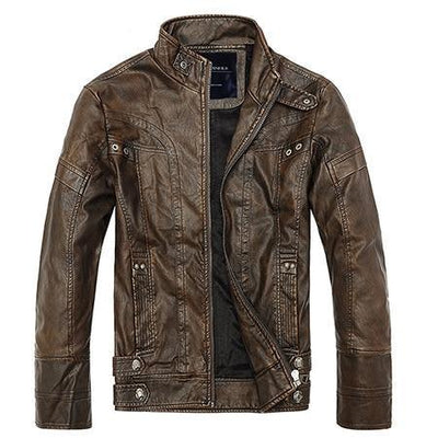 Motorcycle Leather Jacket - Brown / M