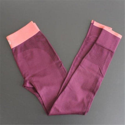 Push-up Elastic Leggings - Burgundy / S