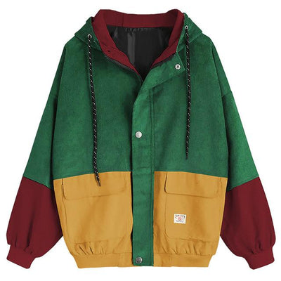 Oversized Corduroy Jacket - Burgundy / S