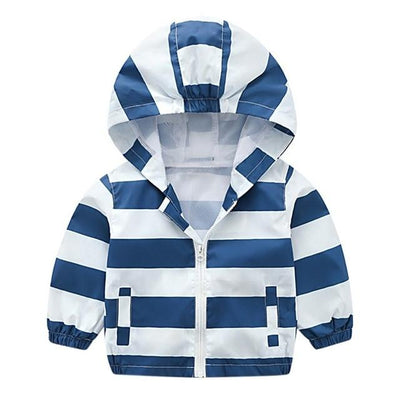 Kiddie Windbreaker - Striped White & Blue / 24M