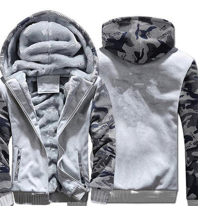 Super Warm Hype Hoodies - Camo Gray / S