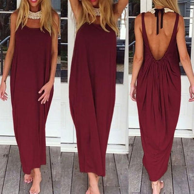 Sexy Backless Maxi Dress - Claret Red / XS