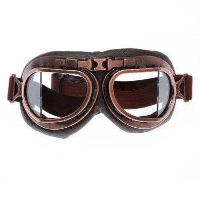 Retro Steampunk Copper Motorcycle Goggles - Clear Lens