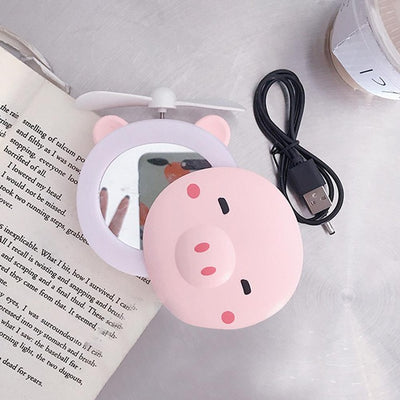 Portable LED Makeup Mirror with Mini Fan - Closed eyes
