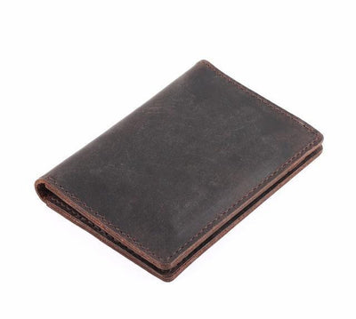 Men's Leather Card Wallet - Coffee