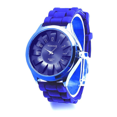 Jelly Band Flower Dial Wrist Watches - Dark Blue