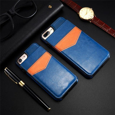 Vertical Flip Wallet Case For iPhone - Dark Blue / For iPhone 6 6S