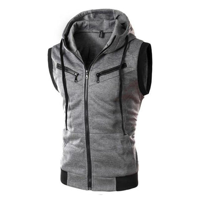 Sleeveless Training Hoodie - Dark Gray / M