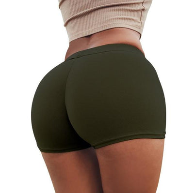 Push Up Yoga Shorts - Dark Green / S